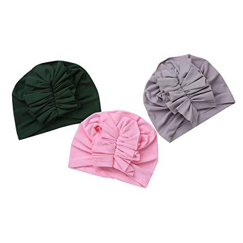 Tiaobug Baby Mütze Outfit Sonnenmütze süß Beanie Hut 3er Baby - Mädchen Mütze Erstlingsmütze süß Häschenohren Rüschen A One Size