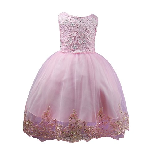 Mädchen Hochzeitskleid, Qlan Mädchen High-End Haken Blume Spitze Bowknot Trailing Rüschen Party (Tanz Benutzerdefinierte Kostüme)