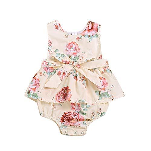 Sanahy Kleidung Neugeborene Mädchen Baumwolle lässig Bowknot Bodysuit Strampler Overall Outfit Set Baby Mädchen, Neugeborenes Baby MäDchen Spitze Floral Strampler Body Sleeeless Kleidung Outfits