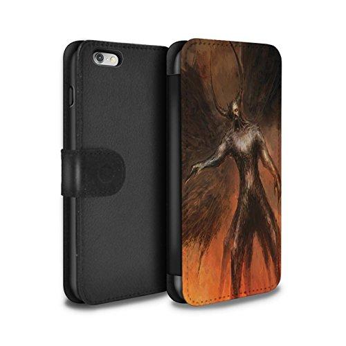 Offiziell Chris Cold PU-Leder Hülle/Case/Tasche/Cover für Apple iPhone 6S+/Plus / Getarnte Teufel Muster / Dunkle Kunst Dämon Kollektion Schwarzen Flügeln