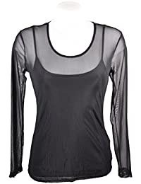 Miss rouge: T-shirt, sous pull femme en voile transparente