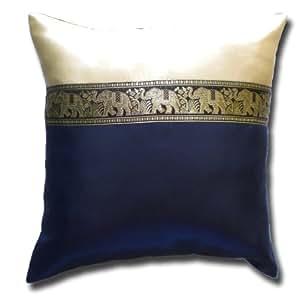 KB02 THAI SILK éléphant bleu le motif la taie d'oreiller la couverture de coussin la Thaïlande 40 x 40 cm