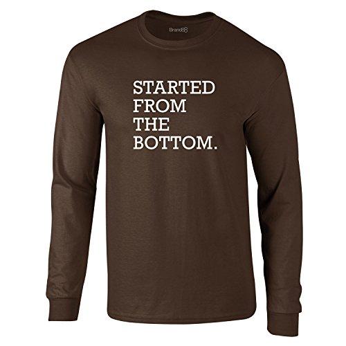 Young Money-shirt (Started From The Bottom, Erwachsene Langarm-T-Shirt, Dunkelbraun/Weiß, 2XL - 119-124cm)