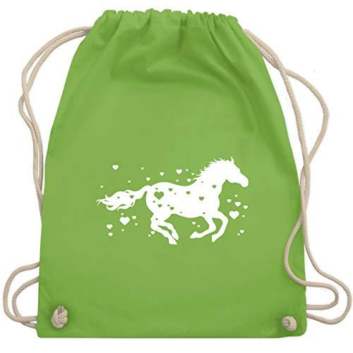 Ideen Für Pferde Kostüm - Valentinstag - Pferde mit Herzen - Unisize - Hellgrün - WM110 - Turnbeutel & Gym Bag