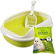 صندوق فضلات القطط بتصميم مفتوح، مع مغرفة / مجرفة فضلات بلاستيكية برائحة فضلات القطط المعطرة