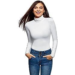 oodji Ultra Mujer Suéter de Cuello Alto Básico Ajustado, Blanco, ES 34 / XXS