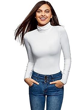 oodji Ultra Mujer Suéter de Cuello Alto Básico Ajustado
