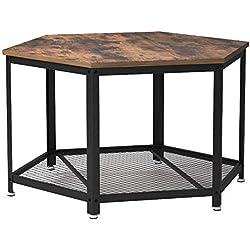 VASAGLE Table Basse Vintage, Table d'appoint, Table de Salon, Armature métallique Stable, Étagère de Rangement en Treillis, Hexagonal, Aspect Bois LCT16X