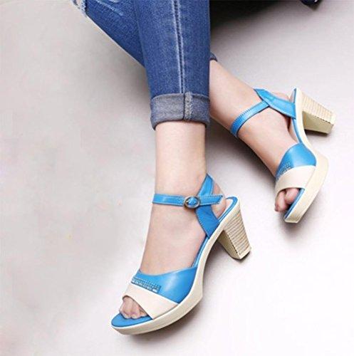 Mme sandales d'été avec des sandales en rond épais avec fond souple antidérapante Blue