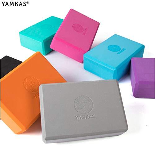 Yamkas Yoga Block | Yogablock aus Hochdichter Eva-Schaum | Blöcke – Klotz fur Pilates – Fitness | 1er – 2er Set Yogaklotz für Anfänger und Fortgeschrittene