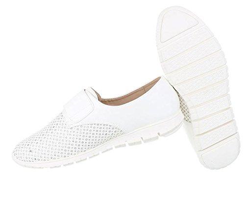Damen Halbschuhe Schuhe Perforierte Slipper Weiß