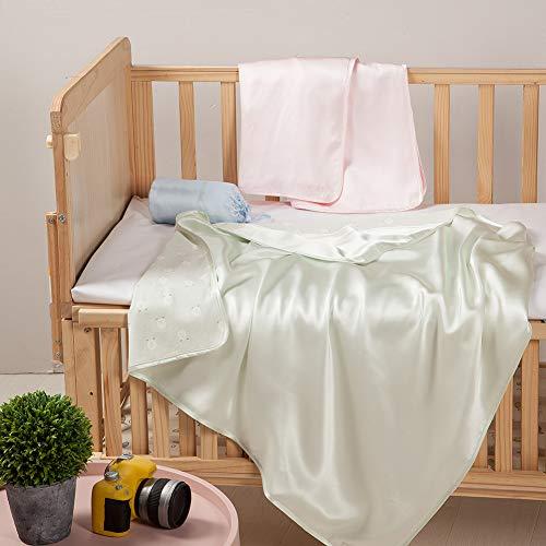 THXSILK Soft & Cozy Zwei Schichten Baumwolle Babydecke, 100% Seide und Baumwolle auf zwei Seiten, für Neugeborene, Kleinkind oder älteres Kind verwendet werden (Macaron grün) - Tröster Und Grün Lila