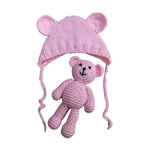 0359a422b YeahiBaby Accesorios de fotografía de bebé Recién nacido Sombrero de oso de  punto lindo con gorra