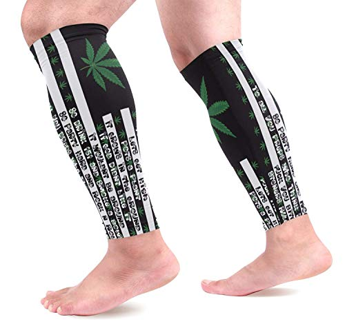 dfegyfr Weed Pot USA Flag Sports Calf Compression Sleeves Leg Compression Calf Sleeve for Runners Men Women (1 Pair)
