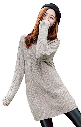 Vogue of Eden Women Loose Crew Neck Knit Slit Pullover Sweater Dress Brown (Brown Pullover Cashmere)