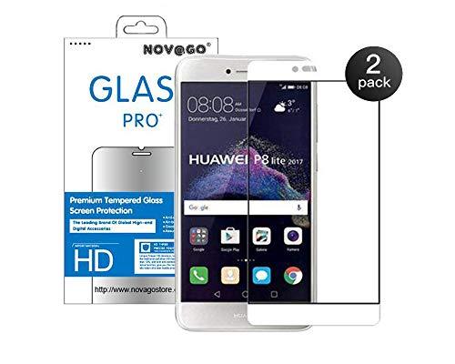 Novago Compatible avec Huawei P8 Lite 2017 Pack de 2 Films Verre trempé, P9 Lite 2017, Honor 8 Lite 2017 - Film Protection écran en Verre trempé résistant Couvre la totalité de l'écran - Blanc