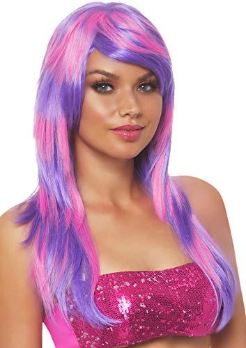 eschichteten Zwei Ton Perücke, Damen Karneval Kostüm Fasching, Einheitsgröße, rosa/lila ()