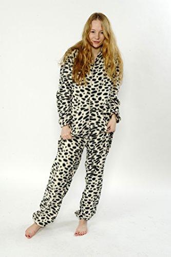 CrazyGadget Pyjama combinaison élastique unisexe pour homme ou femme en polaire douce avec capuche–pour la maison, pour offrir, pour les fêtes Multicolore - Black Dot
