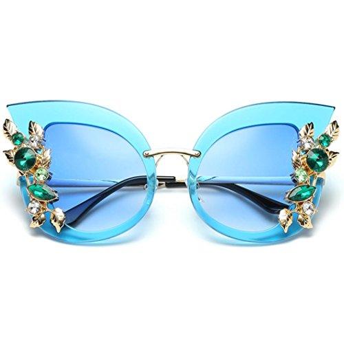 brille Rosennie Europa Mode Retro Classic Cat Eye Glitzernd Blumen Sunglasses Frauen Brillen Damenmode Künstliche Diamant Katze Ohr Metallrahmen Marke Klassische Sonnenbrille (E) (Schwarze Und Weiße Vintage Cat Eye Brille)