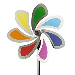 CIM Edelstahl Windrad - Blume 20 Solid Rainbow - wetterfest - Windspiel Ø20cm - inkl. 70cm Standstab und Bodendübel (Solid Rainbow)