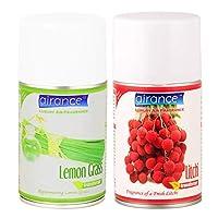 Airance Room Freshner Spray Aroma Perfume Room Freshener Refill Lemon Grass & Litchi - 250 ML - Pack of Two - Fit All Machines Using 250 ML / 300 ML Bottles