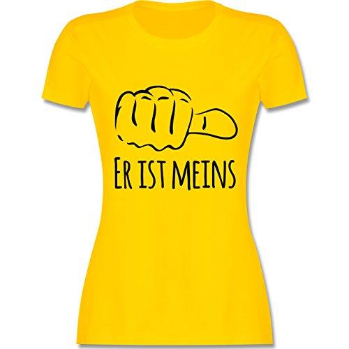 Valentinstag - Er ist meins Kombishirt für SIE und IHN - tailliertes Premium T-Shirt mit Rundhalsausschnitt für Damen Gelb