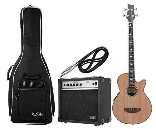 Classic Cantabile Acoustic Bass Komplettset mit Gigbag, Verstärker und Kabel
