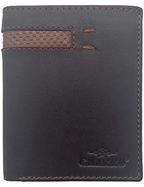 Cartera billetera de hombre sin monedero. Fabricado en piel. Color marrón.