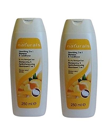 2 X Avon Naturals Apricot & Shea 2 in 1 Shampoo & Conditioner (Twin Pack)