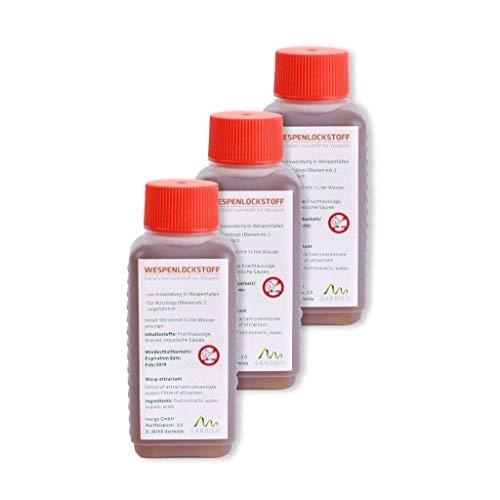 Gardigo Wespenlockstoff-Konzentrat 100 ml 3er Set, für Wespenfalle, Wespenfänger, für insgesamt 3 Liter Wespenlockstoff