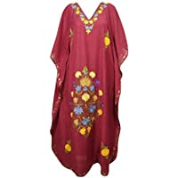 Mogul Interior Women Maxi Kaftan Maroon Cotton Crush Embroidered Long Caftan One Size