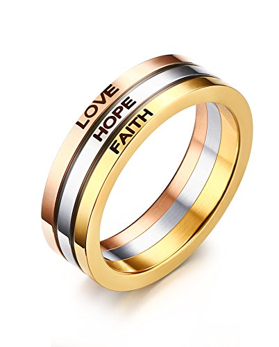 Vnox Damen Edelstahl dreifach stapelbar Band Ring mit Liebe Faith Hope graviert (Mode-band Bleiben)