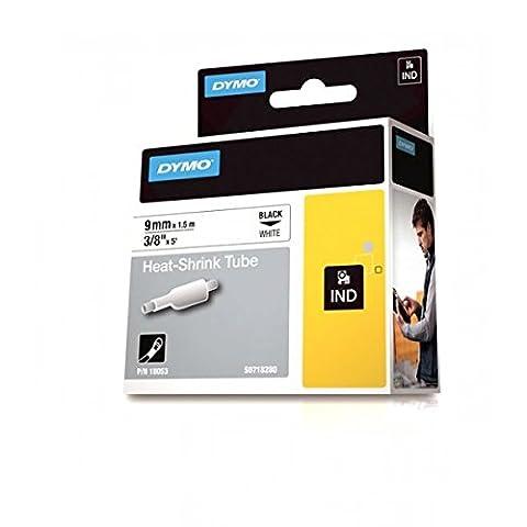 Dymo 1805443 Rhino Schrumpfschlauch-Etiketten (für die Industrie, 9 mm x 1,5 m, Selbstklebend) schwarze Schrift auf weiß