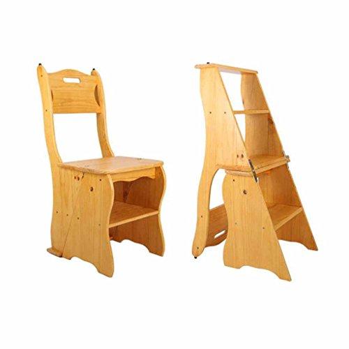 KTYXDE Escalera plegable plegable de madera maciza Taburete para el hogar Hogar de 4 peldaños Escalada interior Taburete alto Escalera móvil Plataforma multifuncional de doble uso Práctica de 115 kg t
