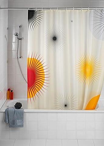 WENKO Duschvorhang Sun - Anti-Schimmel - Textil - 180 x 200 cm (BxH) - inkl. Duschvorhangringe - Vorhang f. Wanne oder