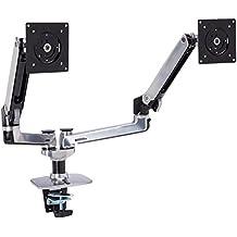 Ergotron LX Series Dual Side-by-Side Arm - Brazo para monitor, Plateado