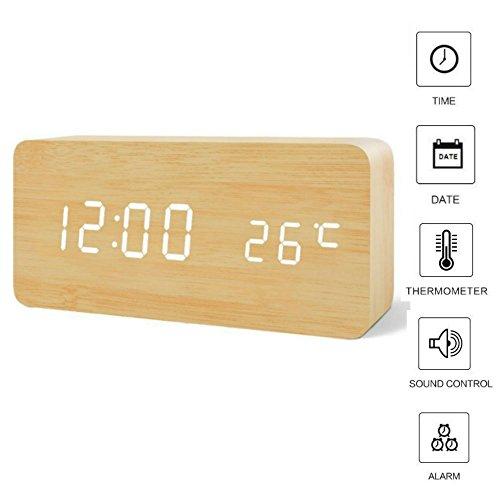 LED Digital Wecker Uhr Holz,TKSTAR Digitalwecker Holz Wecker Sound Control Smart LED Digital Wecker mit Temperaturanzeige Snooze Einstellbare Helligkeit Datumsanzeige Wecker kinder für Home&Travel BW