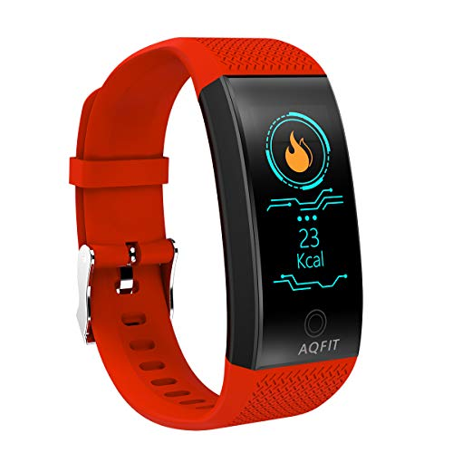 AQFIT Smart Band B2 - Color Screen, Blood Pressure, Blood Oxygen and Heart Rate Smart Fitness Band Tracker with Pedometer & IP68 for Android and iOS (Red)