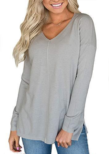 Yidarton Damen Pulli Langarm T-Shirt V-Ausschnitt Lose Bluse Hemd Pullover Warm Sweatshirt Oberteil Tops (Grau, XX-Large)