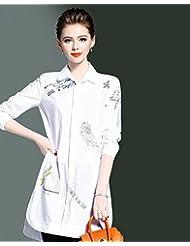 Moda de primavera viaje bordado occidental camisa bordada mujer camisa larga,S,Blanco