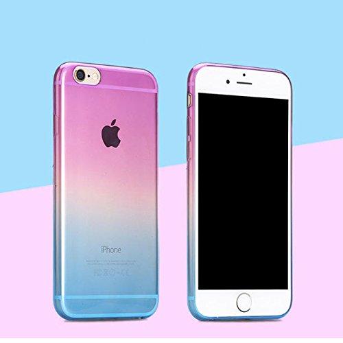 Apple iPhone 6S plus (5.5 Zoll) Hülle, koala group/ Einfache Gradienten dünnen TPU Schutzmaßnahmen weichen HülleSchlank war dünn durchscheinend Hülle-----Himmel blau und gelb Purple and blue