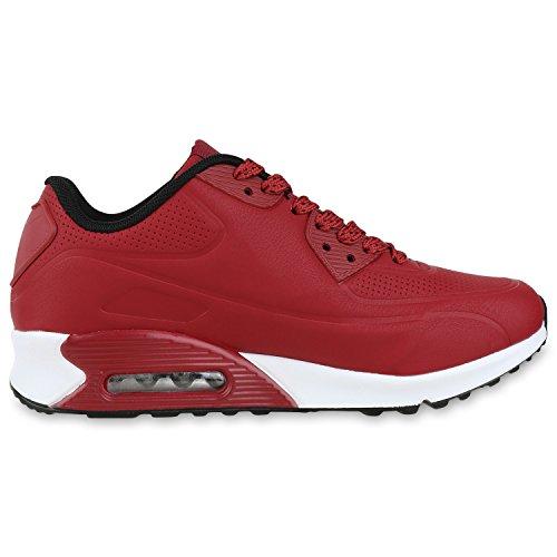 Knallige Damen Herren Unisex Sportschuhe | Auffällige Neon-Sneakers | Sportlicher Eyecatcher für Ihren Alltags-Look | Angenehmer Tragekomfort | Gr. 36-45 Dunkelrot