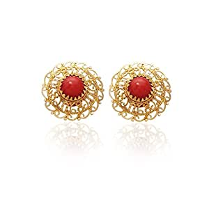 Lagu Bandhu 22k (916) Yellow Gold and Coral Stud Earrings