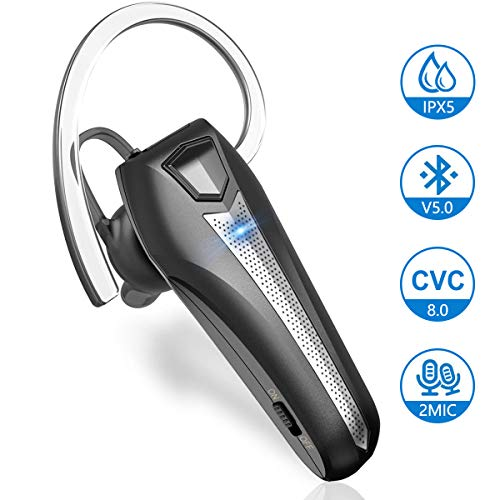 Bluetooth Headset 0.3 Unzen Wasserdicht Dual CVC 8.0 Rauschunterdrückung Mikrofon Bloothooth 5.0 Kabellos In-Ear Ohrhörer Hands Free Funk Kopfhörer für Fahren iPhone Samsung Huawei Handy von Samnyte