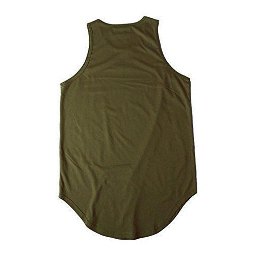 ONCEGALA Männer Hip Hop Athletic Curved Hem Long Basic Ärmellos Weste Tank Tops Armeegrün