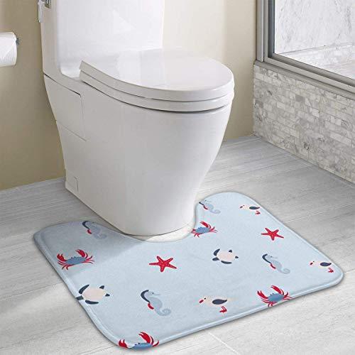 Hoklcvd Marine-Stil U-förmige Toilette Boden Teppich Rutschfeste Toilette Teppiche Badezimmer Teppich - Runde Marine Teppich