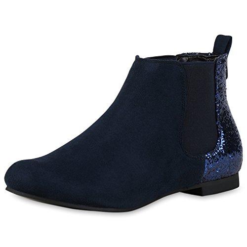 Damen Chelsea Boots | Kunstleder Stiefeletten | Pflegeleichte Boots | Gr. 36-41 Dunkelblau Glitzer