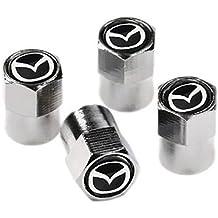 Protrex UK® Mazda cromo y negro Válvula de rueda de Polvo Caps. MX-