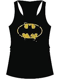 Débardeur pour femme top cC batman logo grunge dos nageur noir