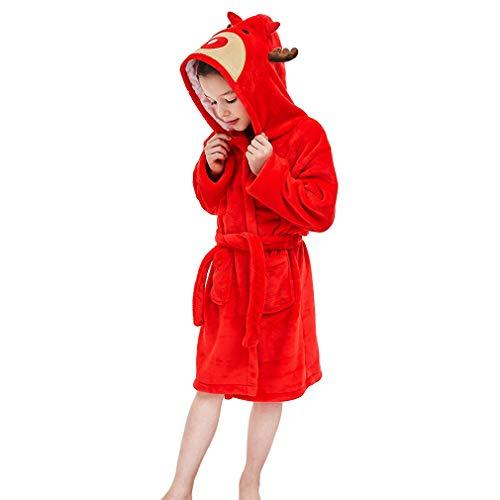 MICHLEY Kinder Bademäntel Soft Flanell Tier Kapuzen Nachtwäsche Jungen Mädchen Robe Rot 3-5 Jahre - Red Soft Robe